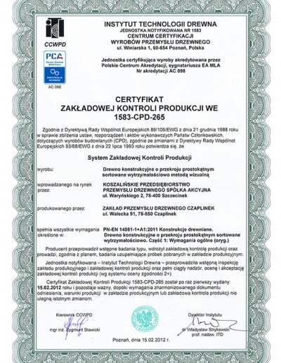 Czaplinek-certyfika